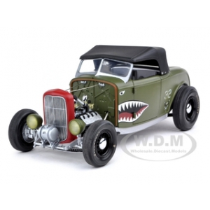 1932 Ford Deuce Highboy Aero Rod Olive Drab 1/18 Diecast Car Model by GMP