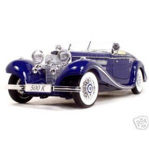 1936 Mercedes 500K Special Roadster Blue 1/18 Diecast Model Car by Maisto