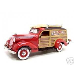 1937 Studebaker Woody Wagon Red 1/24 Diecast Car Model by Unique Replica