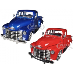 1953 Chevrolet 3100 Pickup Truck Blue & Red 2 Cars Set 1/24 Diecast Models by Jada