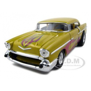 1957 Chevrolet Drag Car Yellow With Flames 1/18 Diecast Car Model by Hotwheels