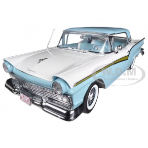 1957 Ford Fairlane Skyliner Starmist Blue / Colonial White 1/18 Diecast Car Model by Sunstar