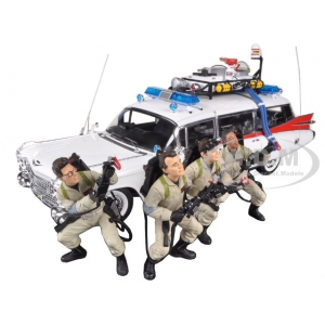 "1959 Cadillac Ambulance Ecto-1 From ""Ghostbusters 1"" Movie 30th Anniversary with 4 Figures Elite Edition 1/18 by Hotwheels"