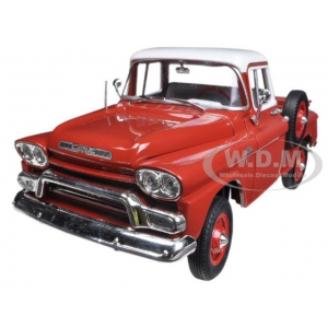 1959 GMC Stepside 4x4 Pickup Truck Flame Red 1/24 Diecast Model by M2 Machines