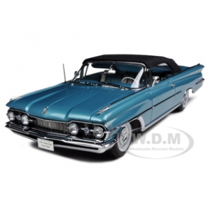 1959 Oldsmobile 98 Closed Convertible Black/Aqua Mist Metalllic 1/18 Diecast Car Model by Sunstar