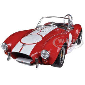 1965 Shelby Cobra 427 S/C Red with White Stripes With Printed Carroll Shelby Signature on the Trunk 1/18 by Shelby Collectibles