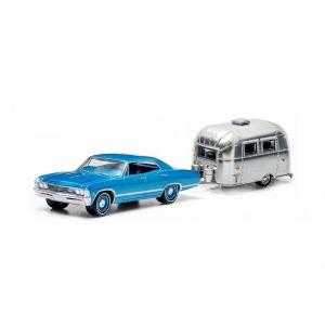 1967 Chevrolet Impala Sport Sedan Blue & Airstream Trailer Bambi 16 Hitch & Tow Series 1 1/64 Diecast Model Car by Greenlight