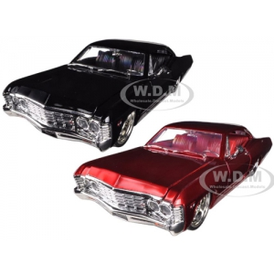 1967 Chevrolet Impala SS Black & Red 2 Cars Set 1/24 Diecast Model Cars by Jada