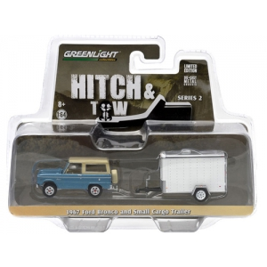 1967 Ford Bronco Blue & Small Cargo Trailer Hitch & Tow Series 2 1/64 Diecast Car Model by Greenlight