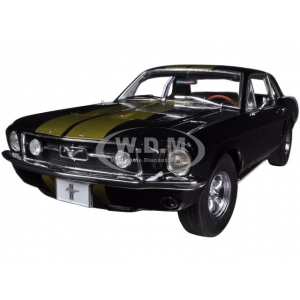 1967 Ford Mustang Coupe Black with Gold Stripes 1/18 Diecast Car Model by Greenlight