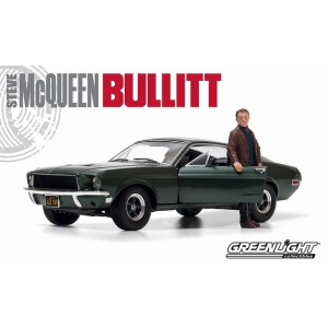 "1968 Ford Mustang GT Fastback ""Bullitt"" Highland Green with Steve Mcqueen Figure 1/18 Diecast Car Model by Greenlight"