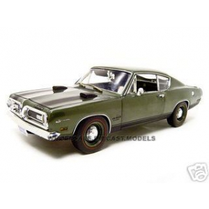1969 Plymouth Barracuda 440 Green 1/18 Diecast Car Model by Highway 61