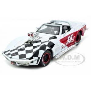 1970 Chevrolet Corvette Pro Street White 55 Custom 1/24 Diecast Model Car by Maisto