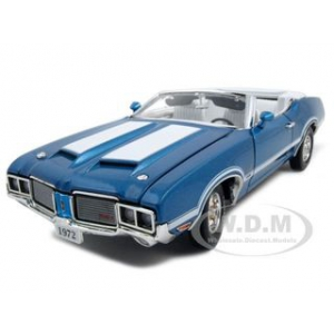 1971 1972 Oldsmobile 442 W-30 Convertible Blue 1/24 Diecast Car Model by Unique Replicas