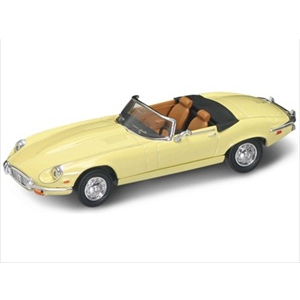 1971 Jaguar E Type Convertible Yellow 1/43 Diecast Model Car by Road Signature