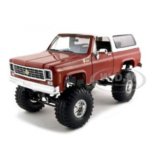 1973 1975 Chevrolet Blazer K5 Crimson Red With TrXus MT Swamper Tires & Mountain Crusher Wheels 1/24 Diecast Model Car by So Real Concepts