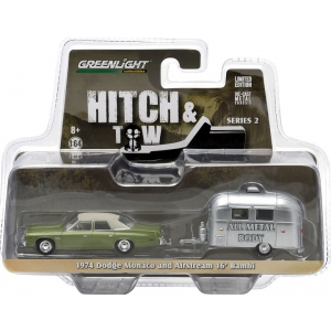 1974 Dodge Monaco Green & Airstream Trailer Bambi 16 Hitch & Tow Series 2 1/64 Diecast Car Model by Greenlight