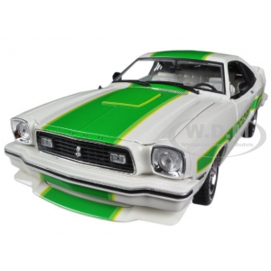 1978 Ford Mustang II Cobra II Free Wheelin White with Green Billboard Stripes 1/18 Diecast Car Model by Greenlight