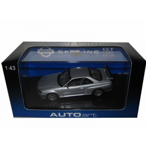 1999 Nissan Skyline GTR R34 Silver 1/43 Diecast Model Car by Autoart