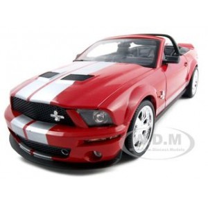 2007 Shelby Mustang GT 500 Convertible Red with Silver Stripes 40th Anniversary 1/18 Diecast Model Car by Shelby Collectibles