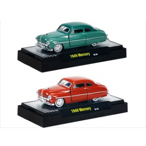 Auto Thentics 1949 Mercury 2pc Cars Set Release 20E WITH CASES 1/64 Diecast Model Cars by M2 Machines