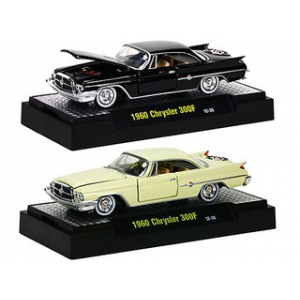 Auto Thentics 1960 Chrysler 300F 2pc Car Set WITH CASES 1/64 Diecast Model Cars by M2 Machines