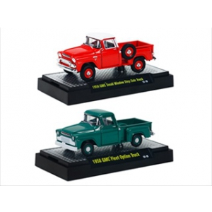 Auto Trucks 1958 GMC Fleet Option & Small Window Step Side 2pc Trucks Set WITH CASES 1/64 Diecast Models by M2 Machines