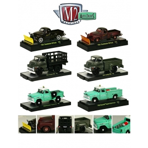 Auto Trucks 6pc Trucks Set Release 28 WITH CASES 1/64 Diecast Trucks by M2 Machines