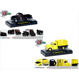 Auto Trucks Release 21A 1951 Studebaker 2R 2pc Cars Set W/CASES 1/64 Diecast Model Cars by M2 Machines