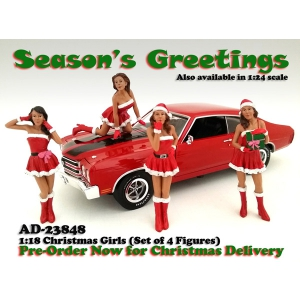 Christmas Girls 4 pieces Figure Set for 118 Scale Diecast Model Cars by American Diorama