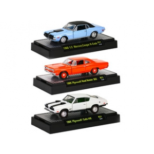 Detroit Muscle 3 Cars Set Release 21 WITH CASES 1/64 Diecast Model Cars by M2 Machines