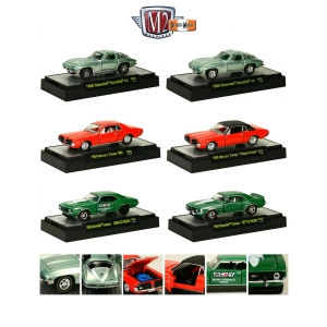 Detroit Muscle 6 Cars Set Release 26 WITH DISPLAY CASES 1/64 Diecast Model Cars by M2 Machines