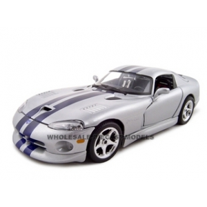 Dodge Viper GTS Diecast Model Silver 1/18 Diecast Model Car by Bburago