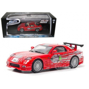 "Doms 1993 Mazda RX-7 Red ""The Fast and The Furious"" Movie 2001 1/43 Diecast Car Model by Greenlight"
