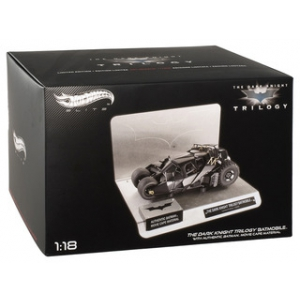 "Elite ""The Dark Knight"" Trilogy Batmobile With Authentic Movie Batman Cape Material 1/18 Diecast Model by Hotwheels"