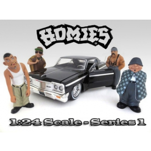"""Homies"" Figurine Set of 4pc For 124 Scale Diecast Model Cars by American Diorama"