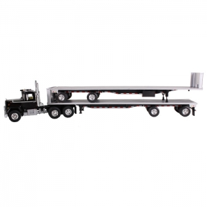 Mack R Truck Black With Two 48ft Flatbed Trailers Stacked 1/64 Diecast Model by First Gear