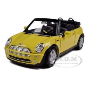 Mini Cooper Convertible Yellow 1/24 Diecast Model Car by Maisto
