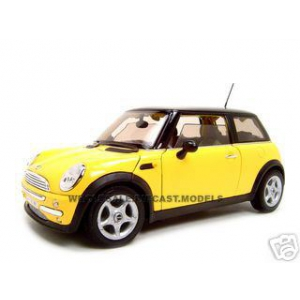 Mini Cooper Diecast Model Yellow 1/18 Diecast Car by Welly