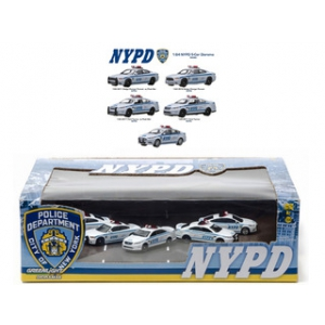 NYPD New York Police Department 5 Cars Diorama Set 1/64 Diecast Model Cars by Greenlight