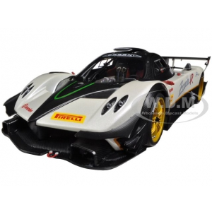 Pagani Zonda R EVO Evolution Carbon Fiber / White 1/18 Diecast Car Model by Autoart