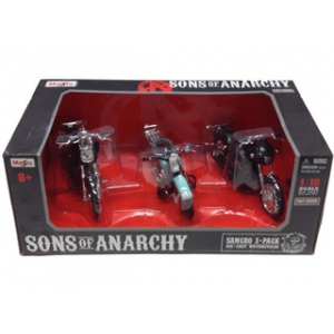 Samcro Sons of Anarchy Harley Davidson Motorcycle 3pc Set 1/18 by Maisto