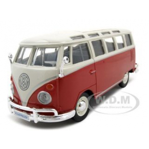 Volkswagen Samba Bus Red 1/25 Diecast Model Car by Maisto
